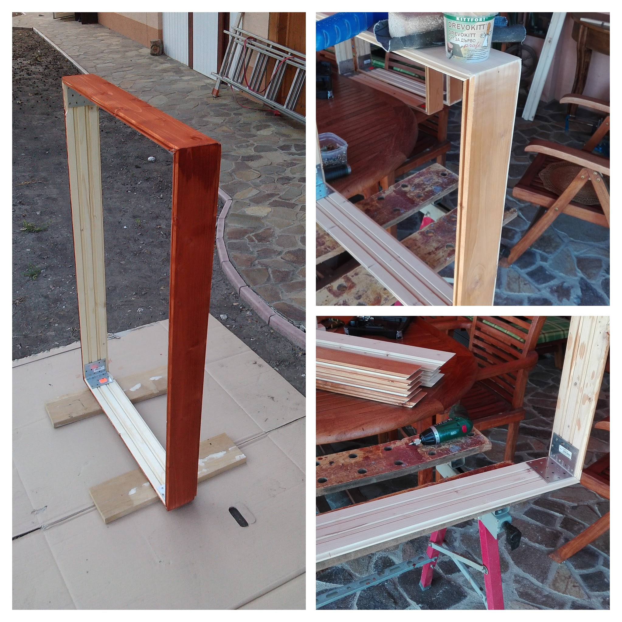 Home studio DYI Acoustic panel side frame in progress