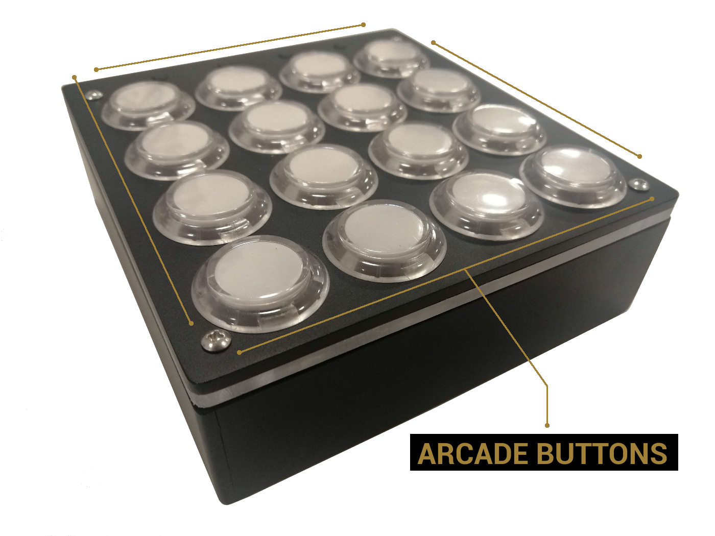 dyi arcade buttons usb midi controller detailed view