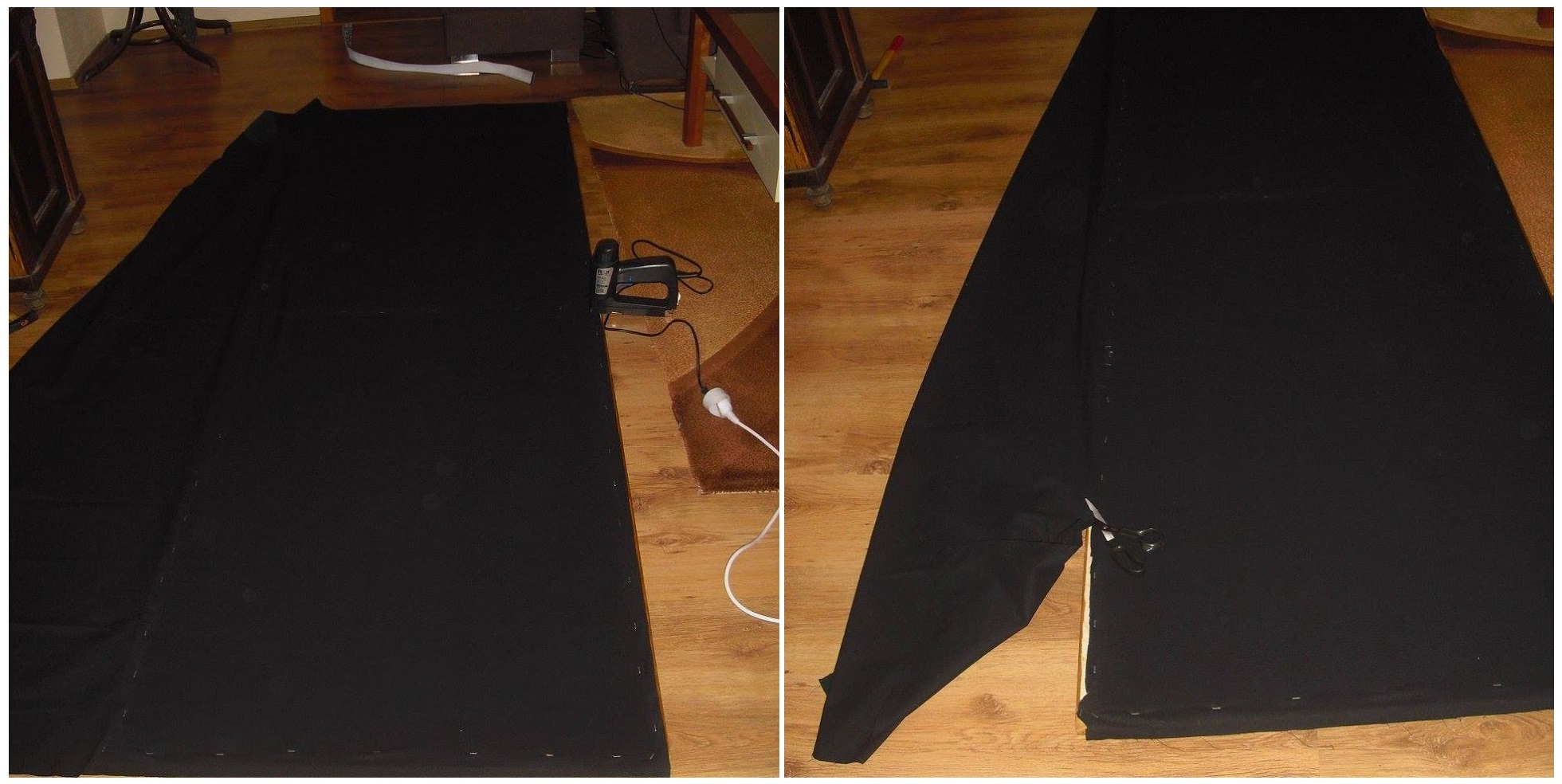 Photo of corner bass-trap front frame fabric installation