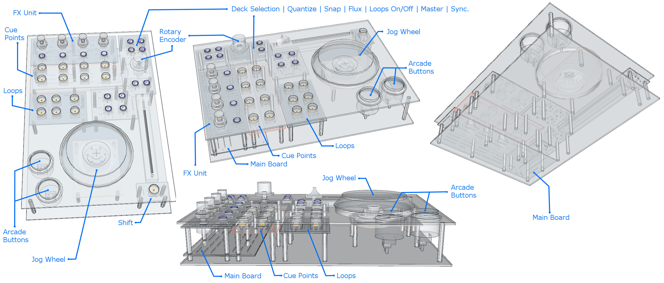 Design of DIY MIDI DJ Deck controller - Google sketchup design of the construction with descrition of particular parts